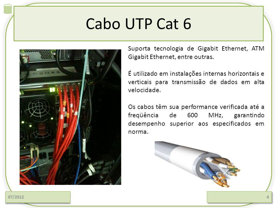 Cabo UTP Cat 6 Suporta tecnologia de Gigabit Ethernet, ATM Gigabit Ethernet, entre outras.