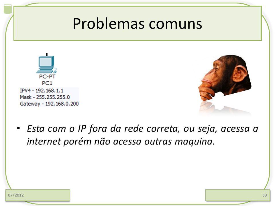 Problemas comuns Esta com o IP fora da rede correta, ou seja, acessa a internet porém não acessa outras maquina.
