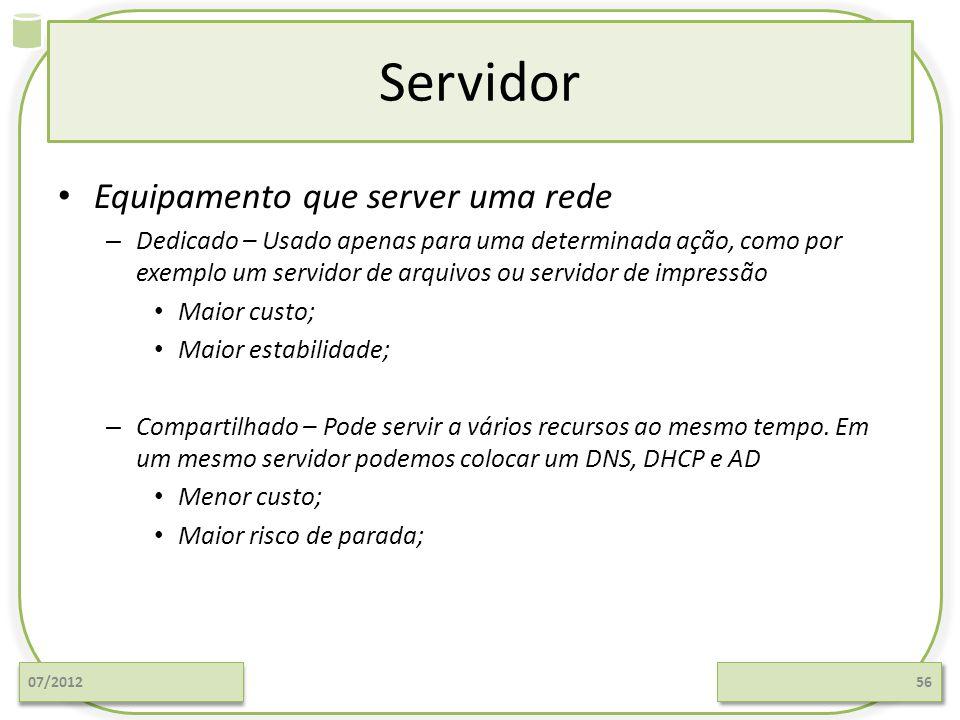Servidor Equipamento que server uma rede