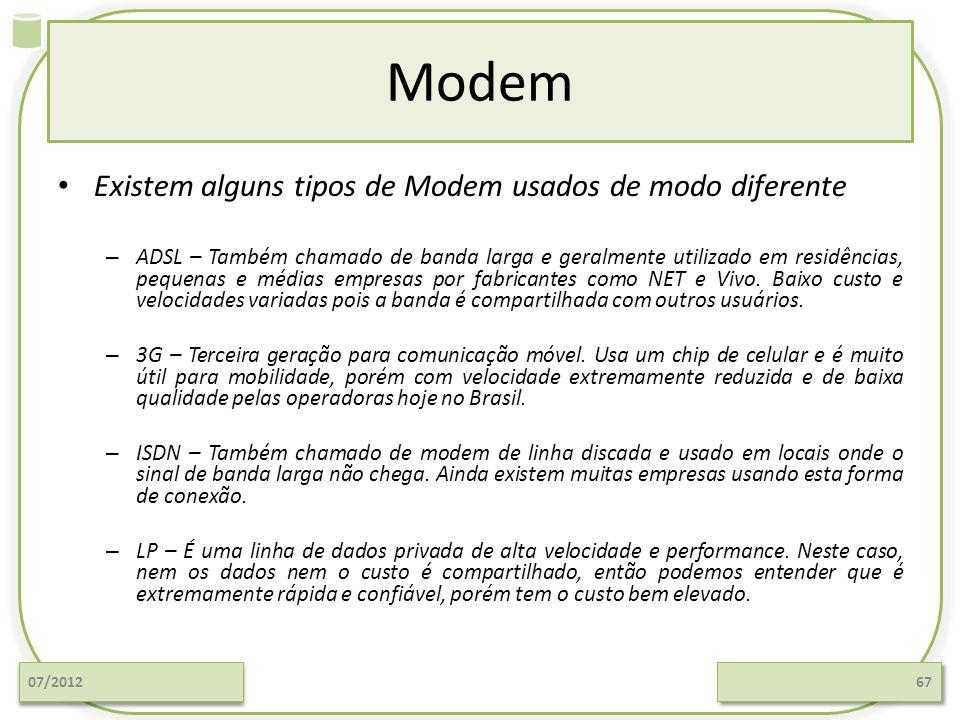 Modem Existem alguns tipos de Modem usados de modo diferente