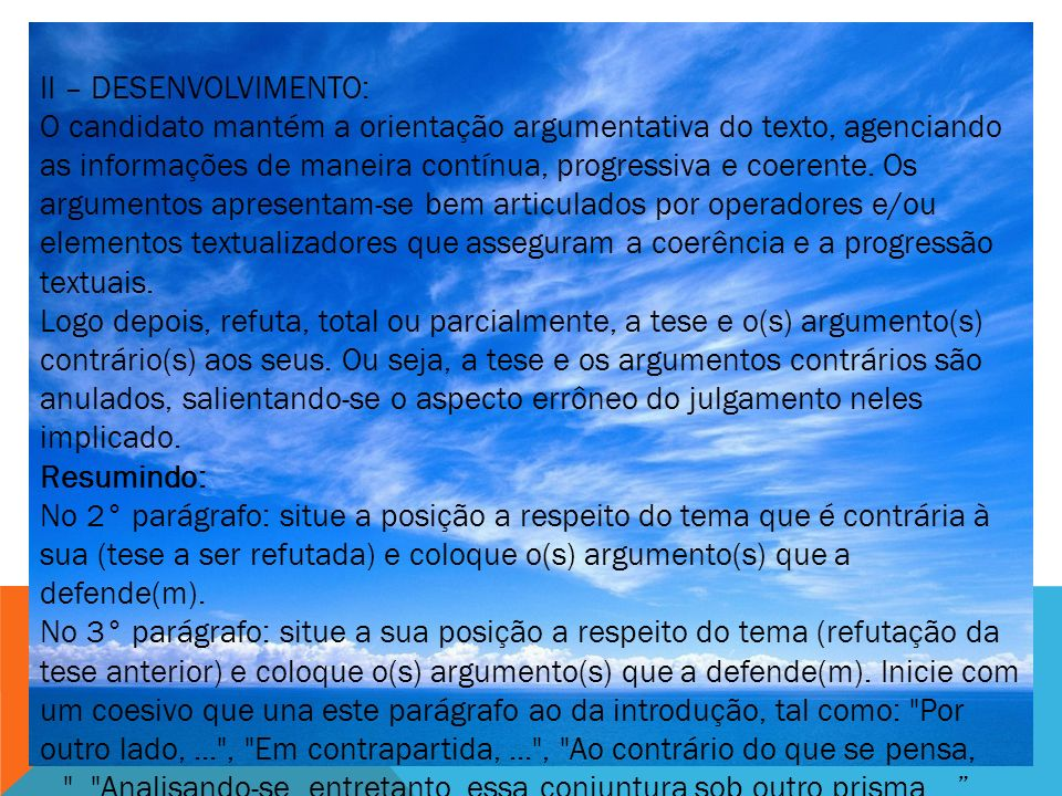 II – DESENVOLVIMENTO: