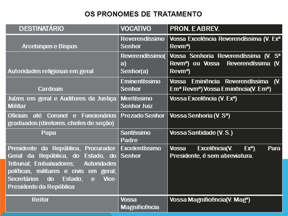 OS PRONOMES DE TRATAMENTO DESTINATÁRIO VOCATIVO PRON. E ABREV.