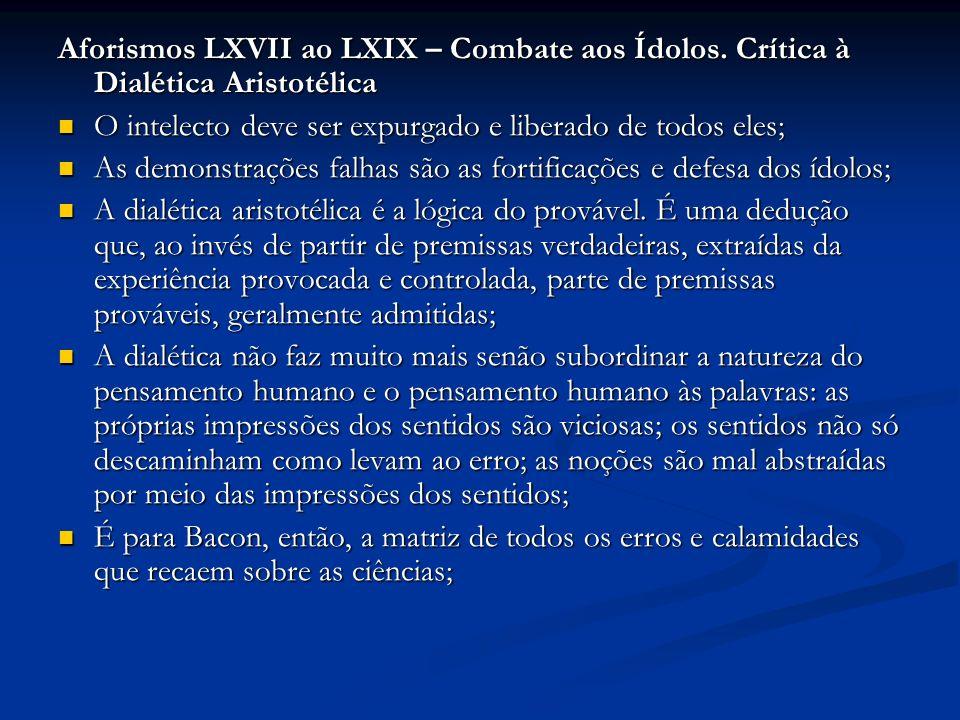 Aforismos LXVII ao LXIX – Combate aos Ídolos