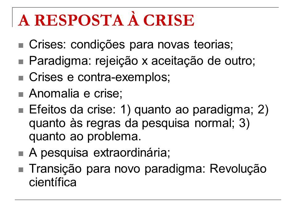 A RESPOSTA À CRISE Crises: condições para novas teorias;