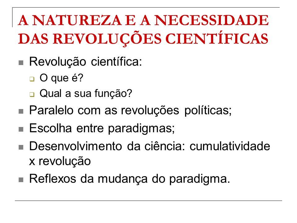 A NATUREZA E A NECESSIDADE DAS REVOLUÇÕES CIENTÍFICAS