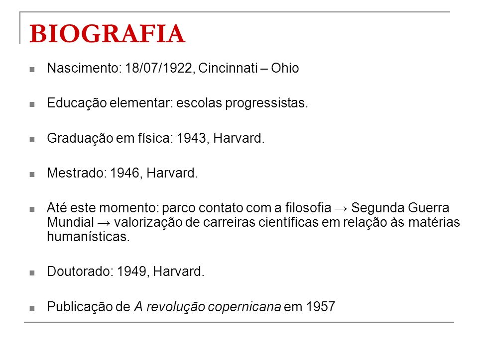 BIOGRAFIA Nascimento: 18/07/1922, Cincinnati – Ohio