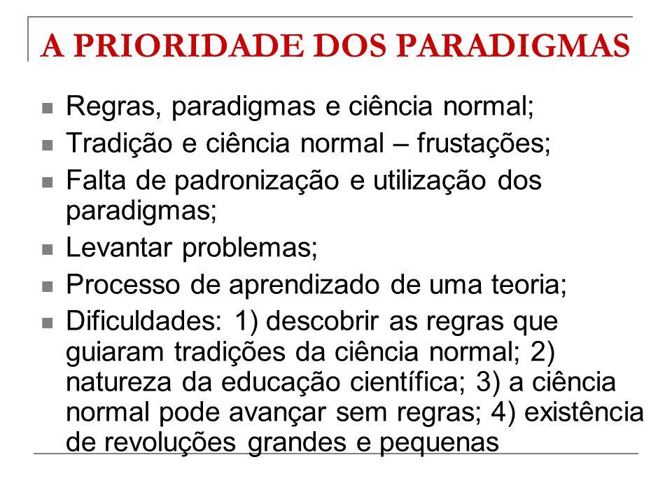 A PRIORIDADE DOS PARADIGMAS
