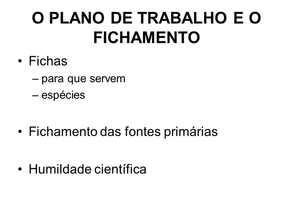 O PLANO DE TRABALHO E O FICHAMENTO