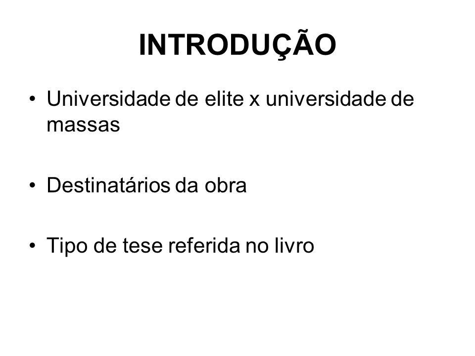INTRODUÇÃO Universidade de elite x universidade de massas