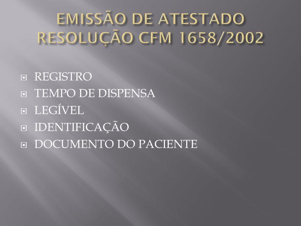 EMISSÃO DE ATESTADO RESOLUÇÃO CFM 1658/2002
