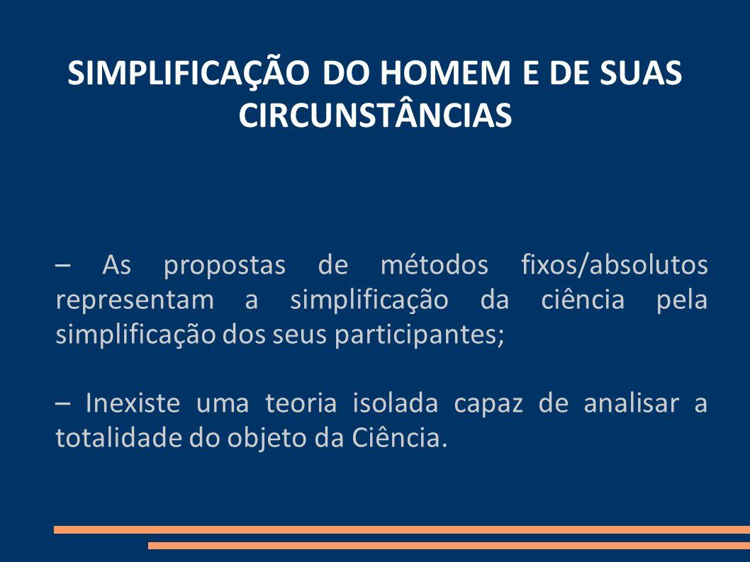 SIMPLIFICAÇÃO DO HOMEM E DE SUAS CIRCUNSTÂNCIAS