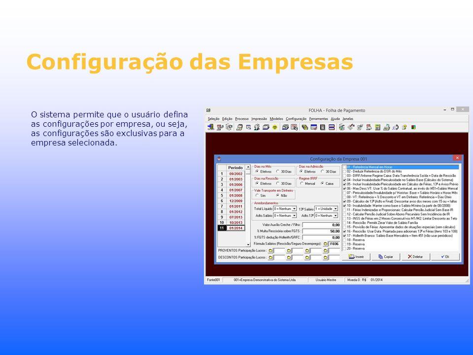 Configuração das Empresas