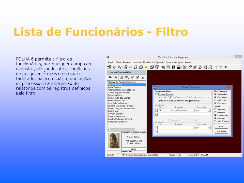 Lista de Funcionários - Filtro