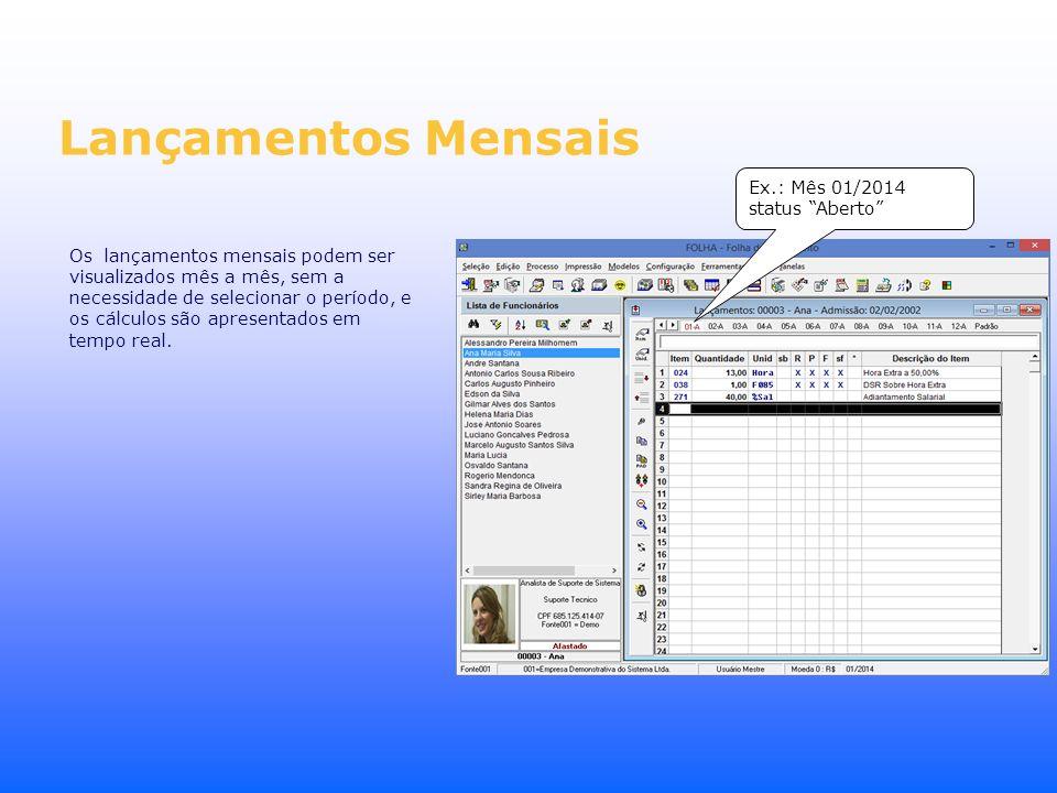 Lançamentos Mensais Ex.: Mês 01/2014 status Aberto