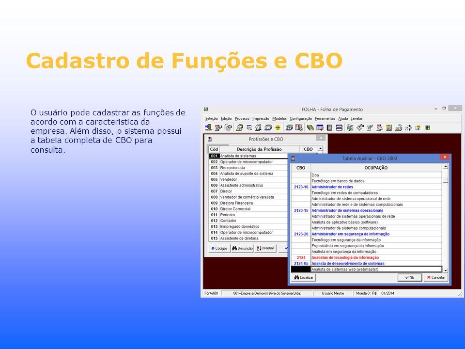 Cadastro de Funções e CBO