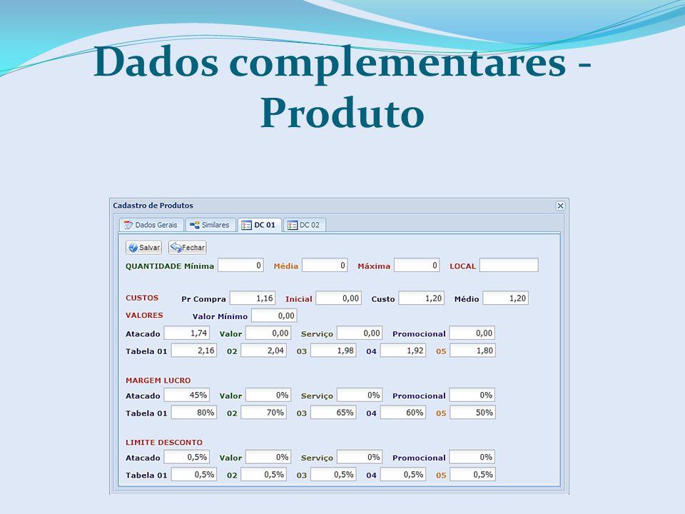 Dados complementares - Produto