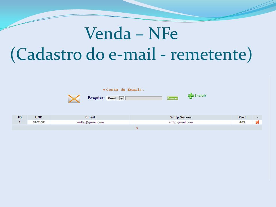 Venda – NFe (Cadastro do e-mail - remetente)
