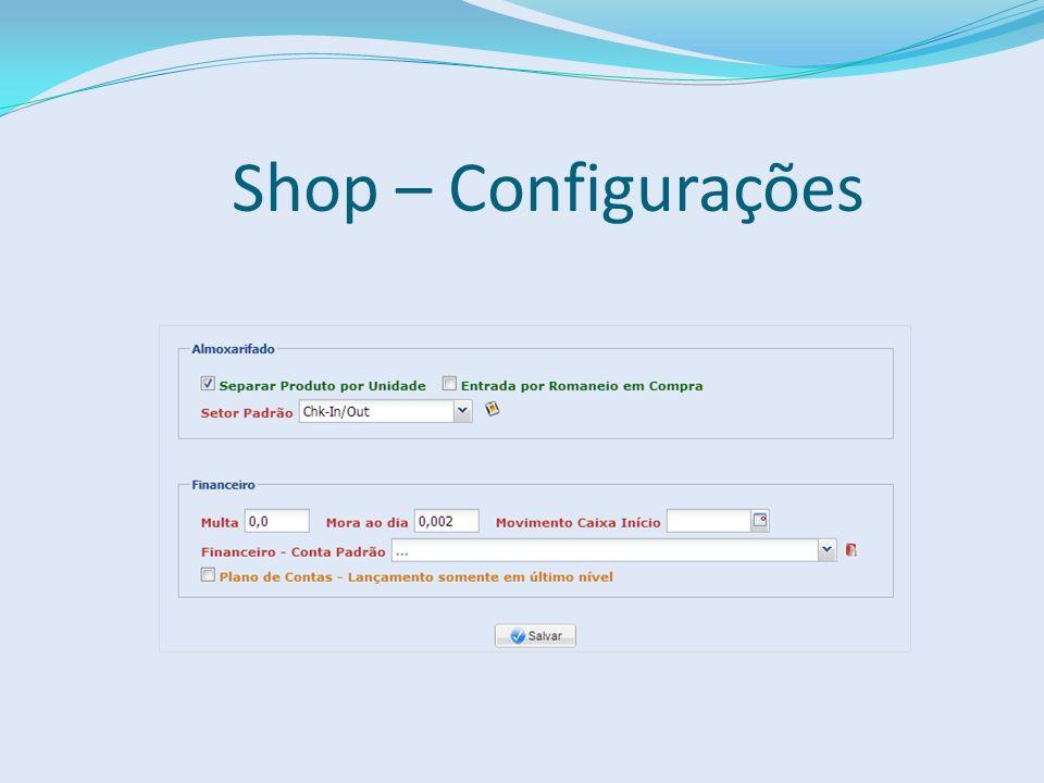 Shop – Configurações