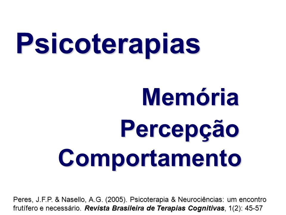 Psicoterapias Memória Percepção Comportamento