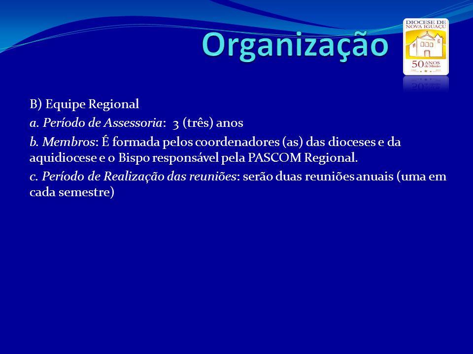 Organização B) Equipe Regional a. Período de Assessoria: 3 (três) anos