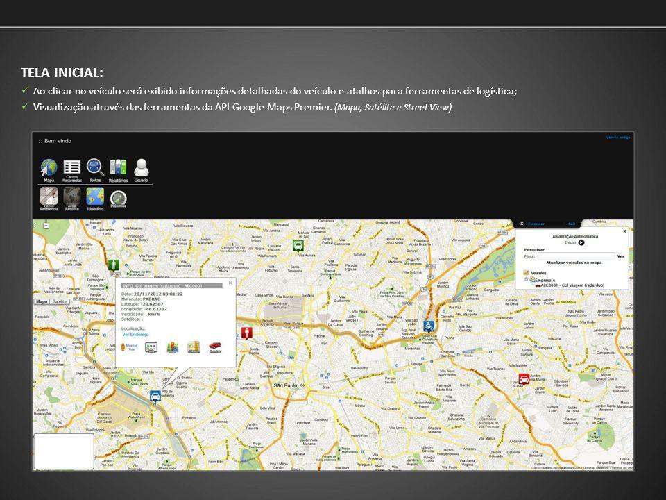 TELA INICIAL: Ao clicar no veículo será exibido informações detalhadas do veículo e atalhos para ferramentas de logística;