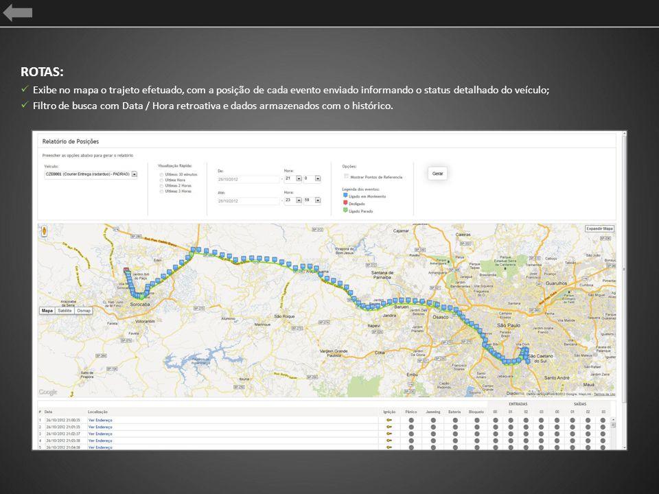 ROTAS: Exibe no mapa o trajeto efetuado, com a posição de cada evento enviado informando o status detalhado do veículo;