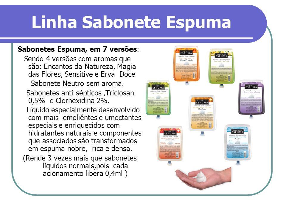 Linha Sabonete Espuma Sabonetes Espuma, em 7 versões: