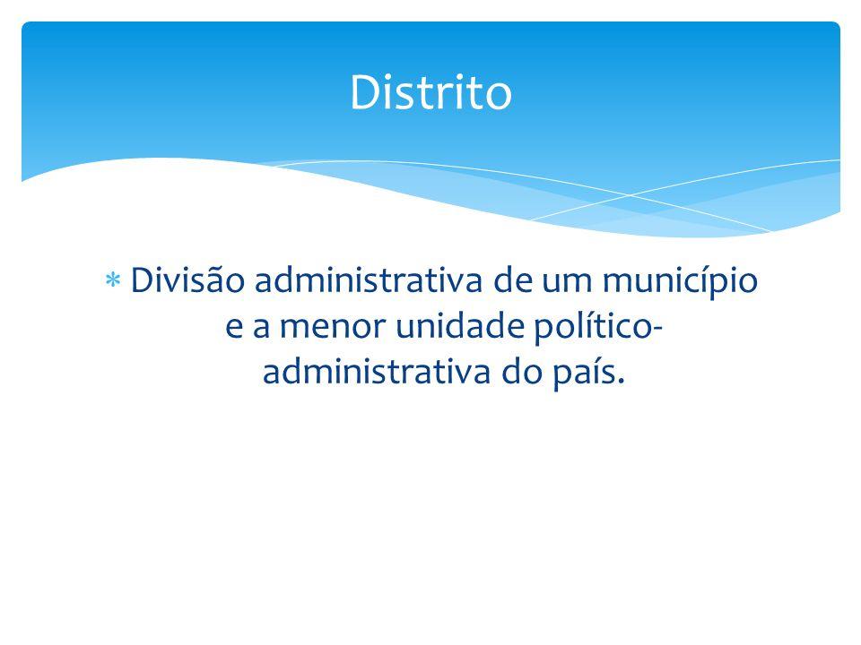 Distrito Divisão administrativa de um município e a menor unidade político-administrativa do país.