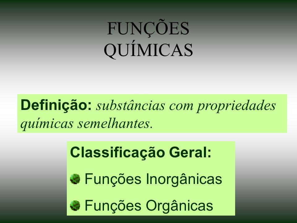 FUNÇÕES QUÍMICAS Definição: substâncias com propriedades químicas semelhantes. Classificação Geral: