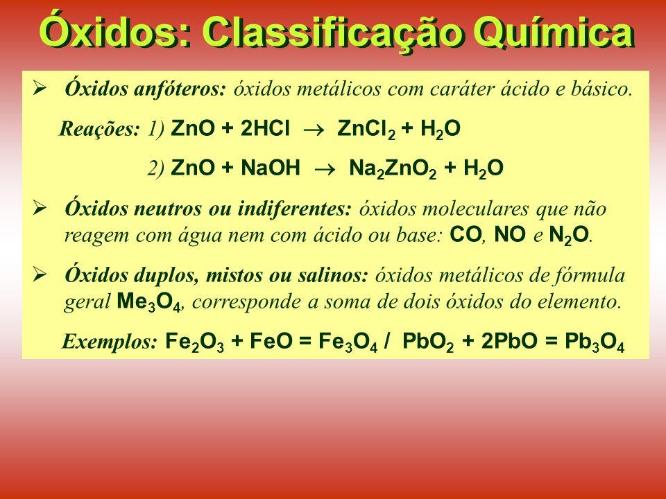 Óxidos: Classificação Química