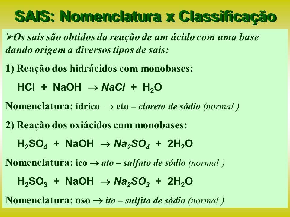 SAIS: Nomenclatura x Classificação