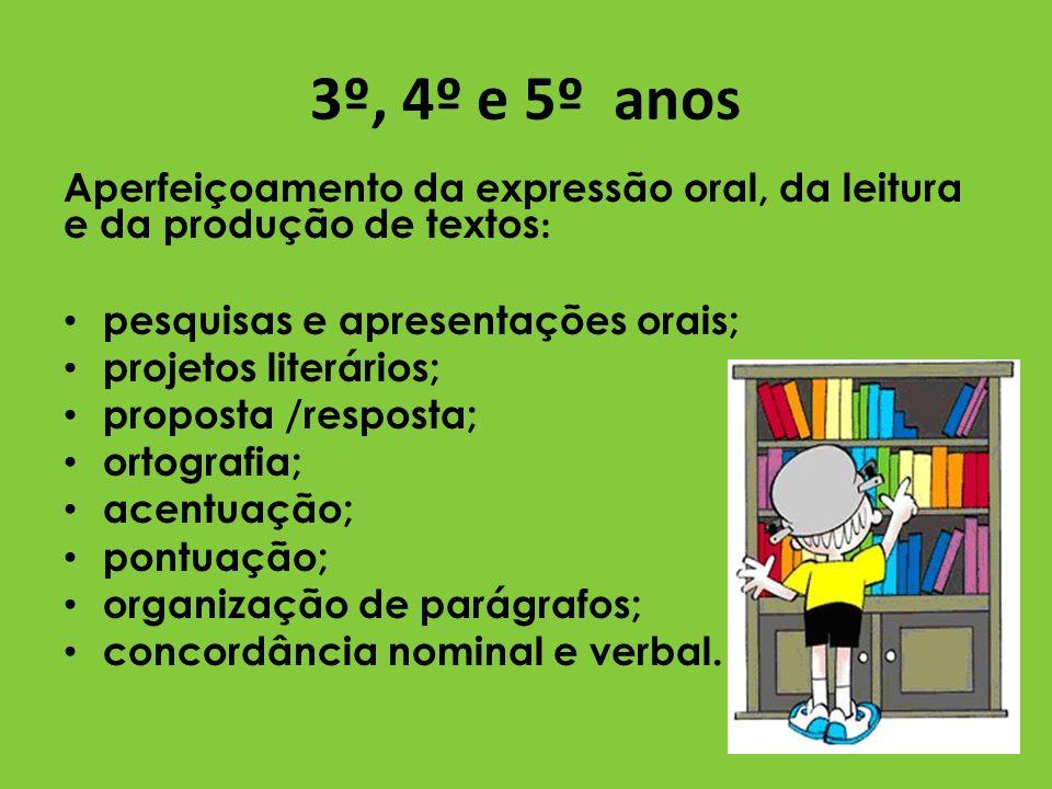 3º, 4º e 5º anos Aperfeiçoamento da expressão oral, da leitura e da produção de textos: pesquisas e apresentações orais;
