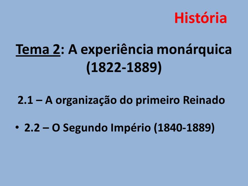 Tema 2: A experiência monárquica (1822-1889)
