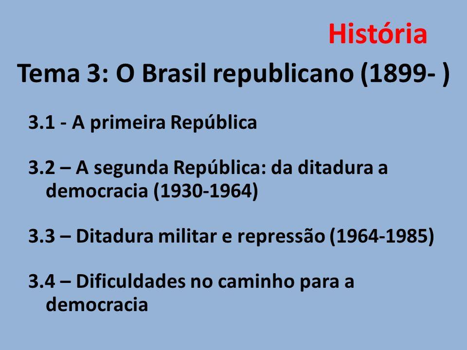 Tema 3: O Brasil republicano (1899- )
