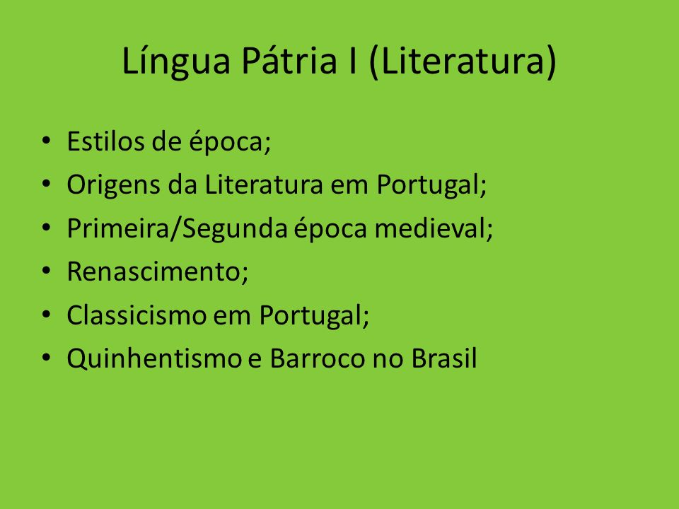 Língua Pátria I (Literatura)