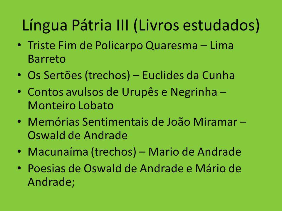 Língua Pátria III (Livros estudados)