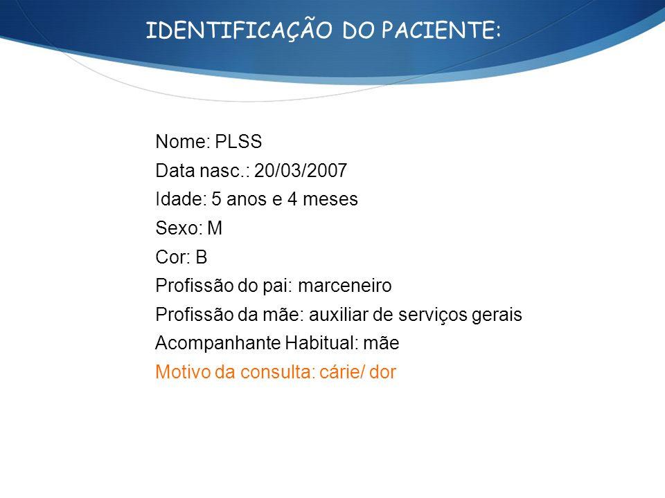 IDENTIFICAÇÃO DO PACIENTE: