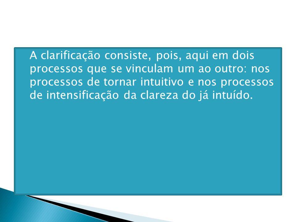 A clarificação consiste, pois, aqui em dois processos que se vinculam um ao outro: nos processos de tornar intuitivo e nos processos de intensificação da clareza do já intuído.