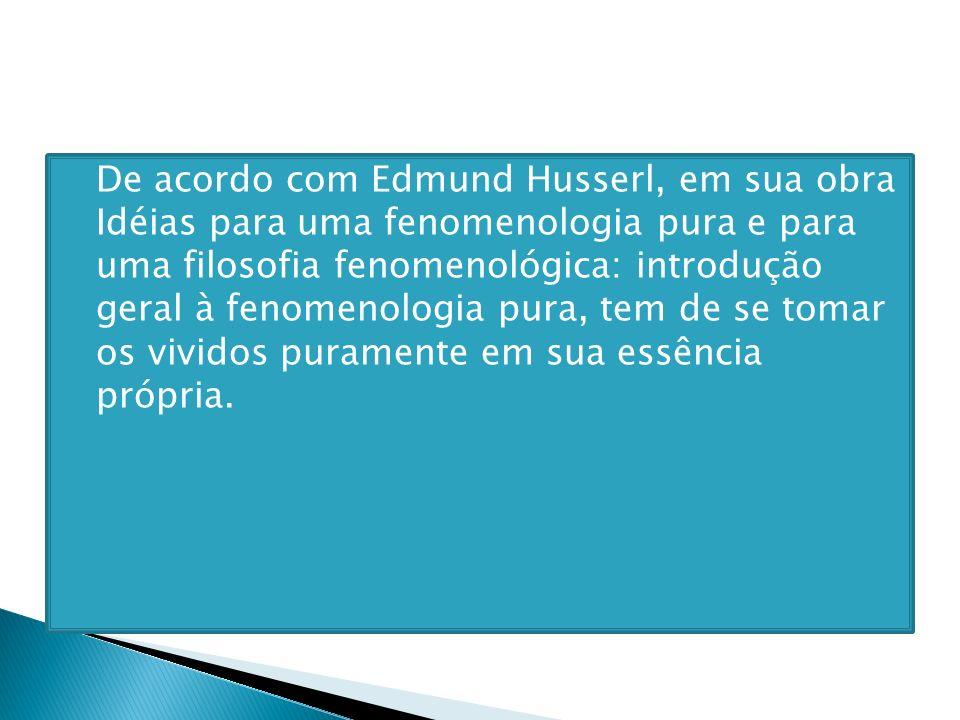 De acordo com Edmund Husserl, em sua obra Idéias para uma fenomenologia pura e para uma filosofia fenomenológica: introdução geral à fenomenologia pura, tem de se tomar os vividos puramente em sua essência própria.