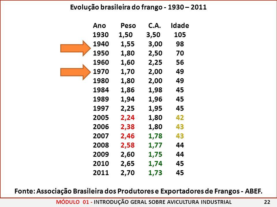 Evolução brasileira do frango - 1930 – 2011