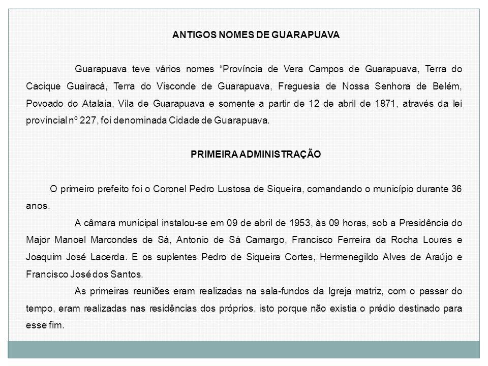 ANTIGOS NOMES DE GUARAPUAVA PRIMEIRA ADMINISTRAÇÃO