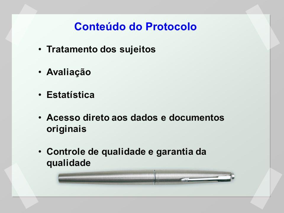 Conteúdo do Protocolo Tratamento dos sujeitos Avaliação Estatística