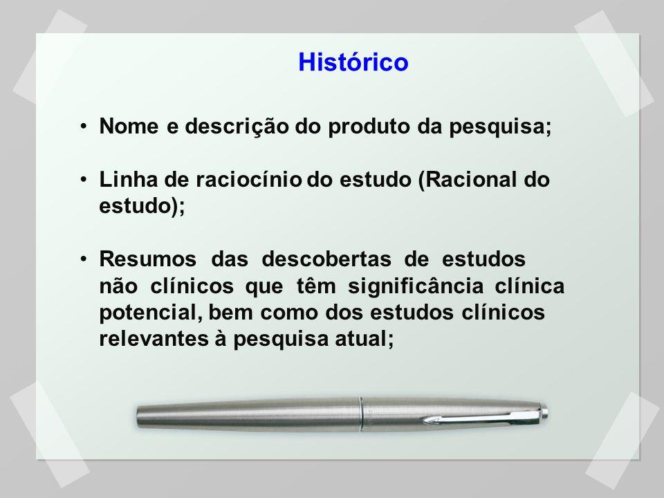 Histórico Nome e descrição do produto da pesquisa;
