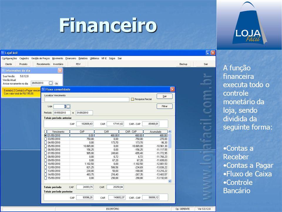 Financeiro A função financeira executa todo o controle monetário da loja, sendo dividida da seguinte forma: