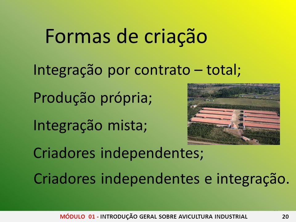 Formas de criação Integração por contrato – total; Produção própria;