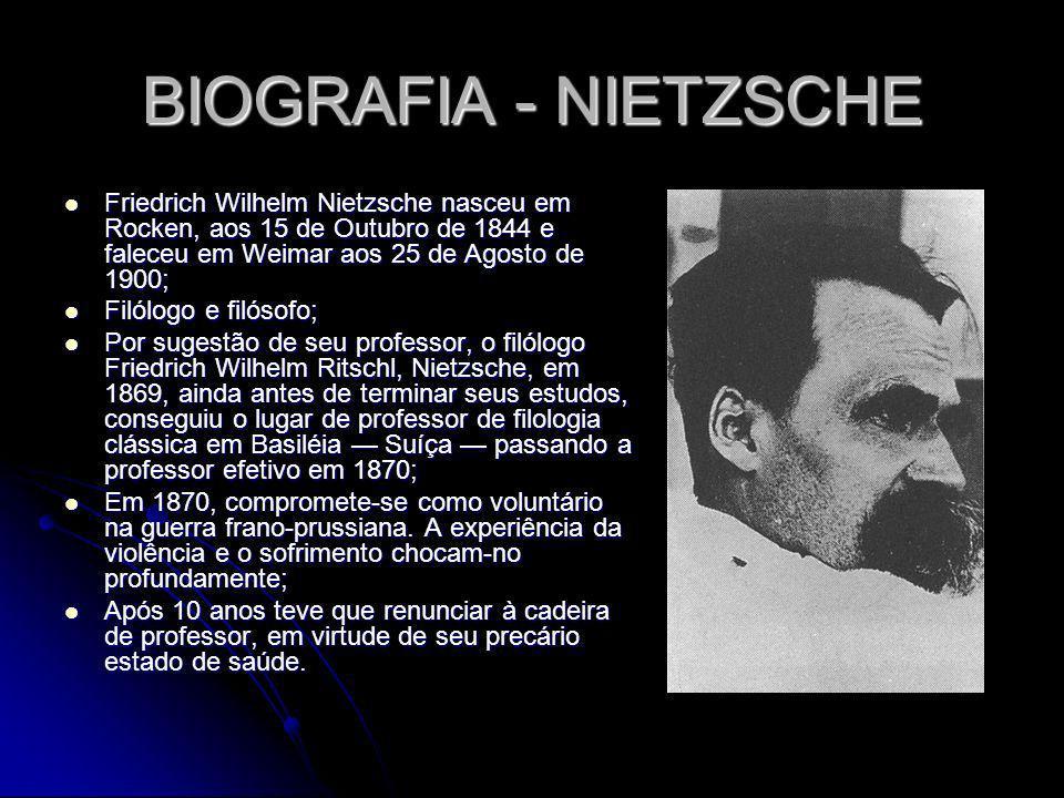 BIOGRAFIA - NIETZSCHE Friedrich Wilhelm Nietzsche nasceu em Rocken, aos 15 de Outubro de 1844 e faleceu em Weimar aos 25 de Agosto de 1900;