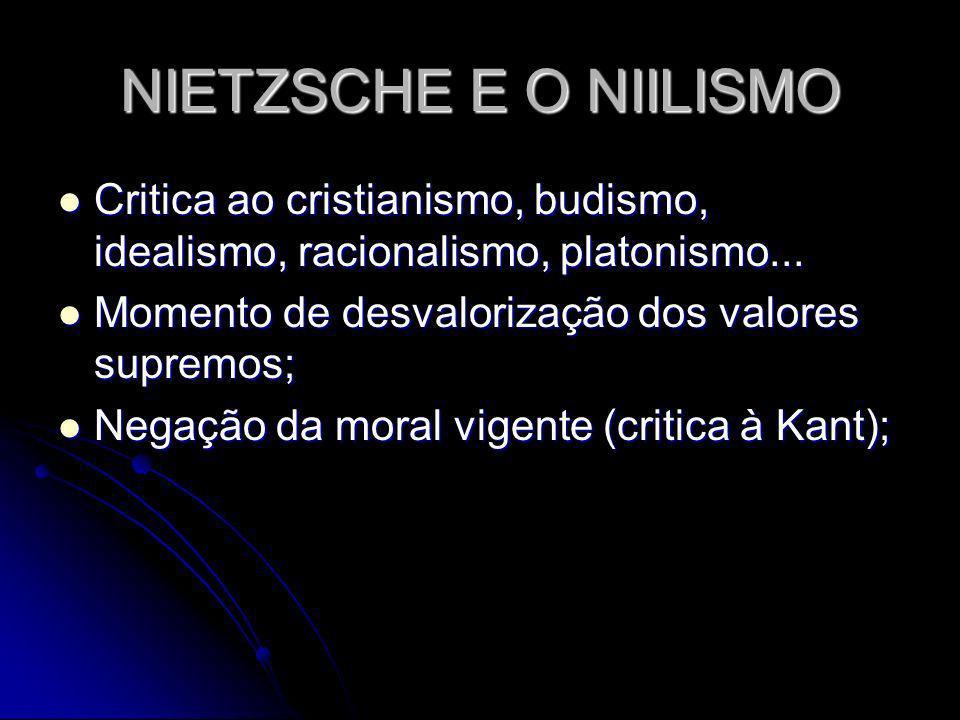 NIETZSCHE E O NIILISMO Critica ao cristianismo, budismo, idealismo, racionalismo, platonismo... Momento de desvalorização dos valores supremos;
