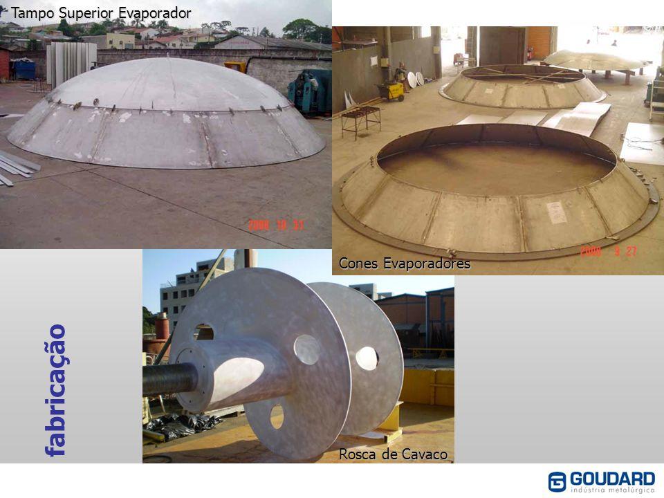 fabricação Tampo Superior Evaporador Cones Evaporadores