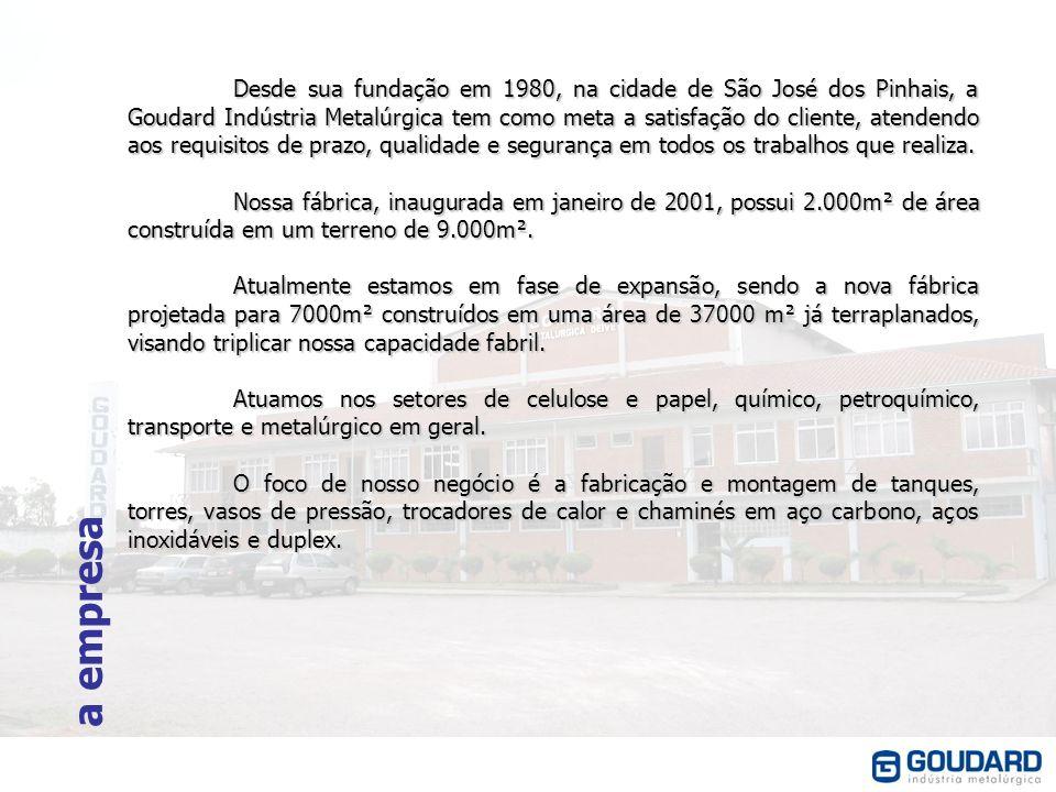 Desde sua fundação em 1980, na cidade de São José dos Pinhais, a Goudard Indústria Metalúrgica tem como meta a satisfação do cliente, atendendo aos requisitos de prazo, qualidade e segurança em todos os trabalhos que realiza.