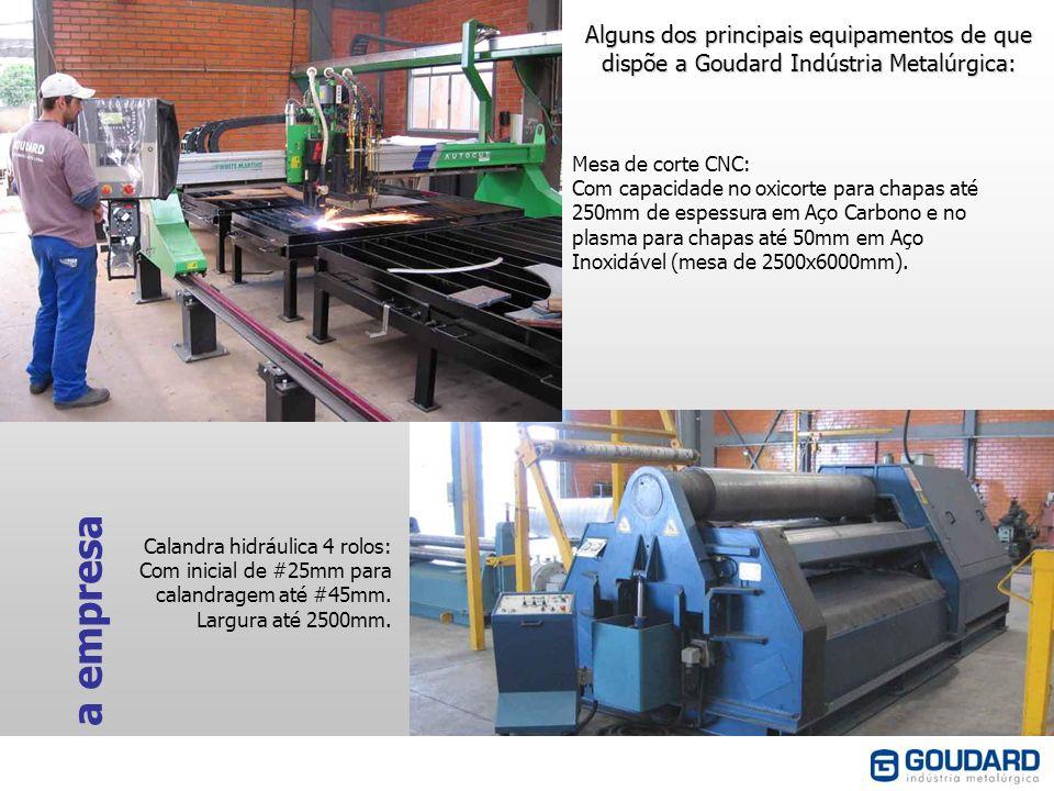 Alguns dos principais equipamentos de que dispõe a Goudard Indústria Metalúrgica: